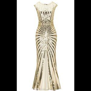 1920s Sequin Art Deco Maxi Dress